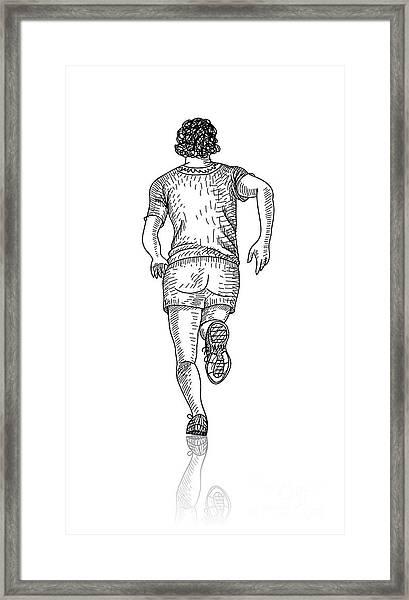 Vector Sketch Of Man Runs Into The Framed Print