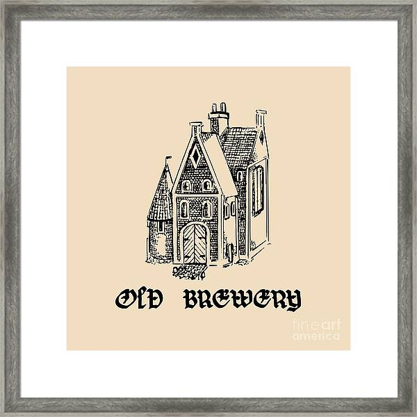 Vector Vintage Old Brewery Logo. Hand Framed Print
