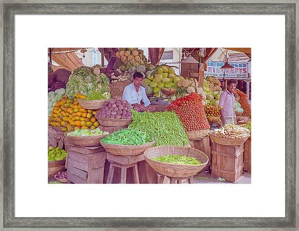 Vegetable Seller In Indian Market Framed Print
