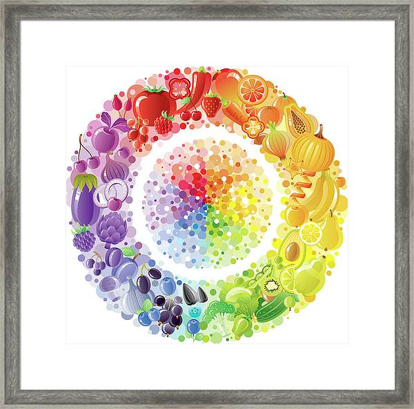 Vegetarian Rainbow Plate Withe Fruits Framed Print