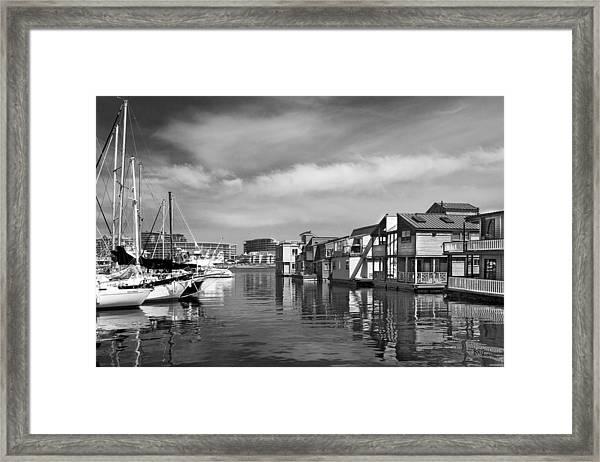Veiw Of Marina In Victoria British Columbia Black And White Framed Print