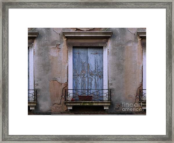 Venice Blue Shutters Horizontal Photo Framed Print