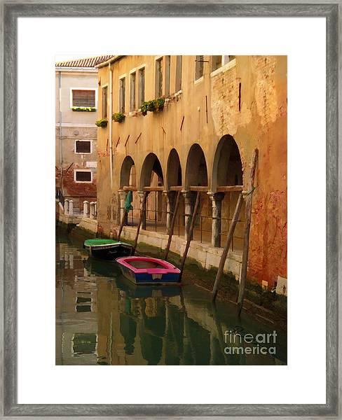 Venice Boats On Canal Framed Print