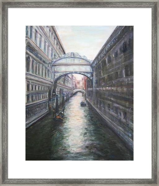 Venice Bridge Of Sighs - Original Oil Painting Framed Print