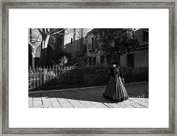 Venice Carnival '15 Bw Framed Print