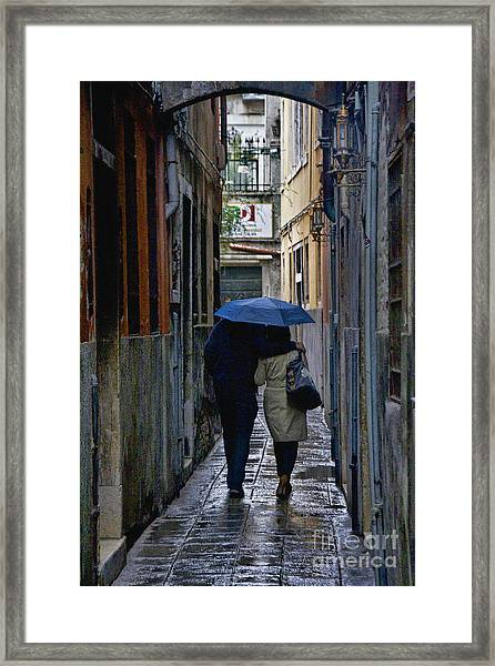 Venice In The Rain Framed Print