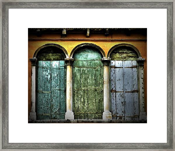 Framed Print featuring the photograph Venice Italy 3 Doors by Gigi Ebert