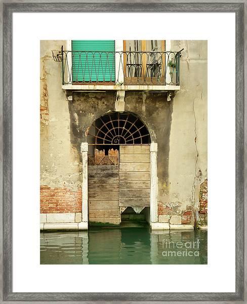 Venice Italy Boat Room Shutters Framed Print