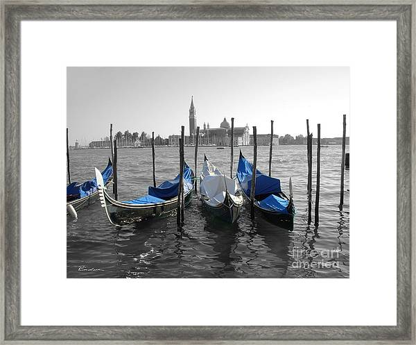 Venice Italy Boats In Black And Blue Framed Print