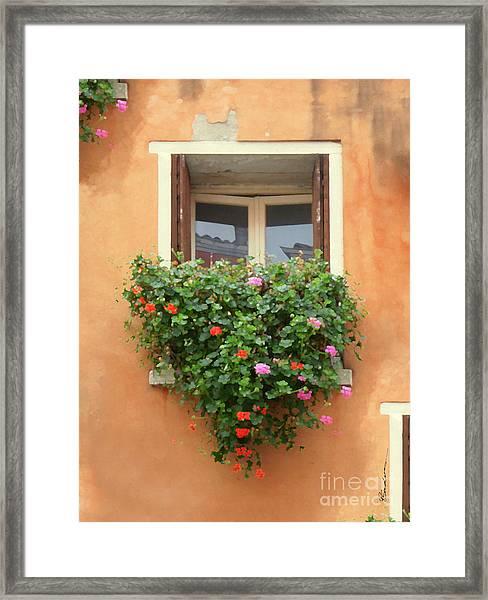 Venice Shutters Flowers Orange Wall Framed Print