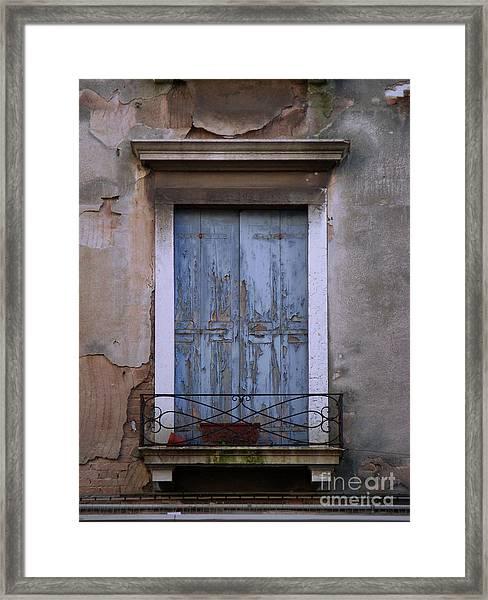 Venice Square Blue Shutters Framed Print