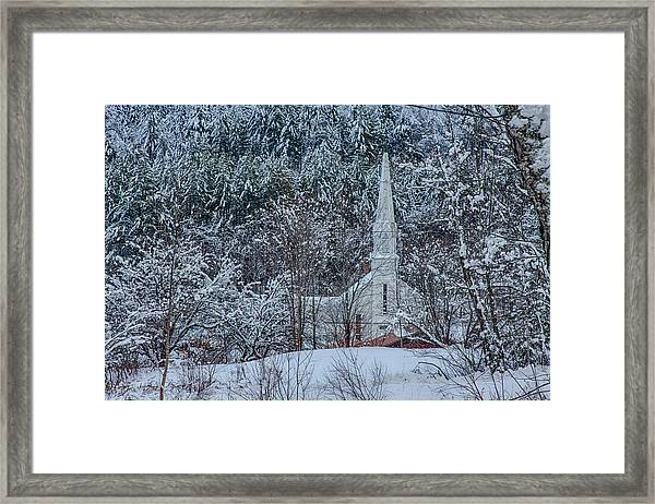 Vermont Church In Snow Framed Print
