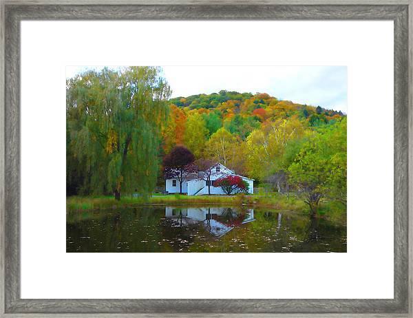 Vermont House In Full Autumn Framed Print