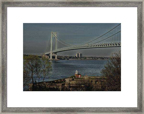 Verrazano Bridge And Fort Wadsworth Framed Print