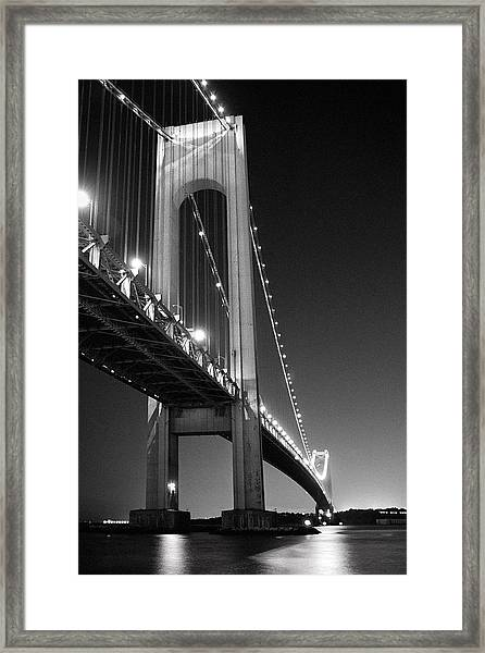 Verrazano Bridge At Night - Black And White Framed Print