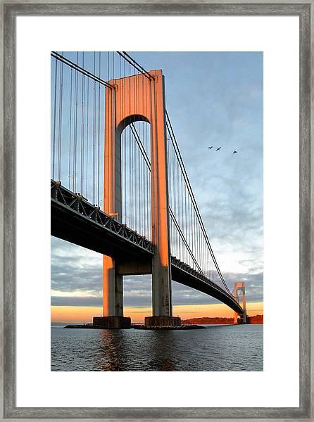 Verrazano Bridge At Sunrise - Verrazano Narrows Framed Print