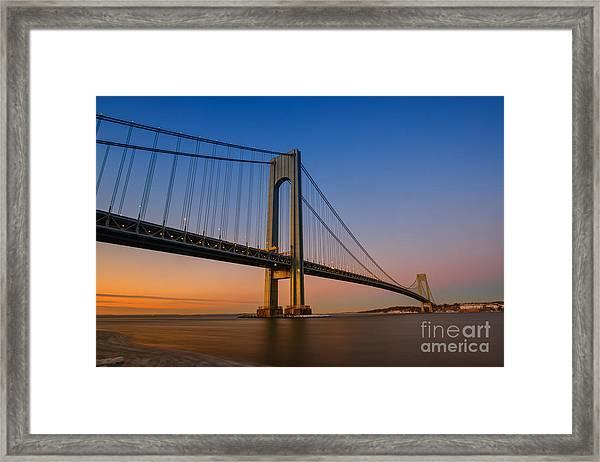 Verrazano Bridge Sunrise  Framed Print