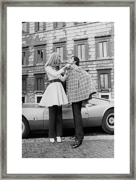 Veruschka And Tomas Milian Framed Print