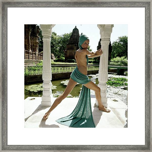 Veruschka Von Lehndorff Posing At The Gardens Framed Print