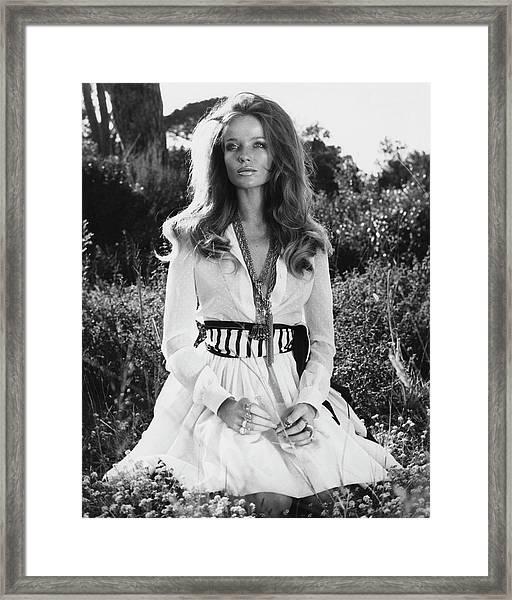 Veruschka Von Lehndorff Sitting In Tall Dress Framed Print