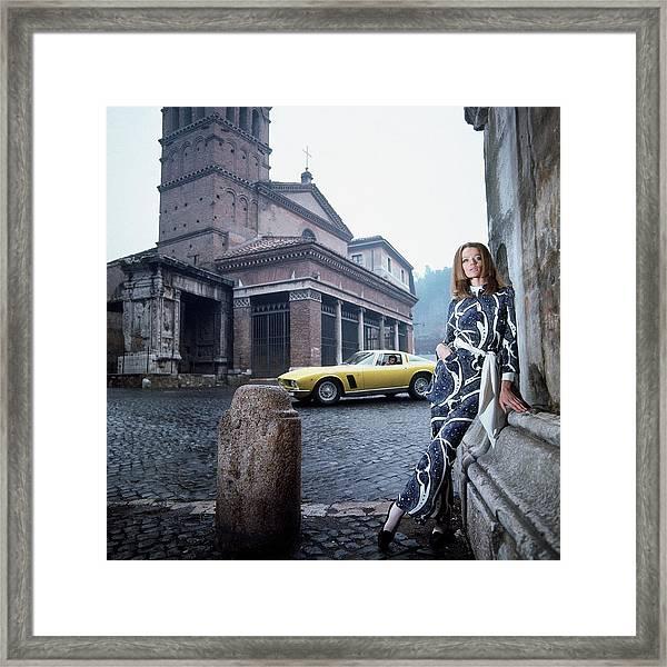 Veruschka Von Lehndorff Standing In Piazza Di San Framed Print