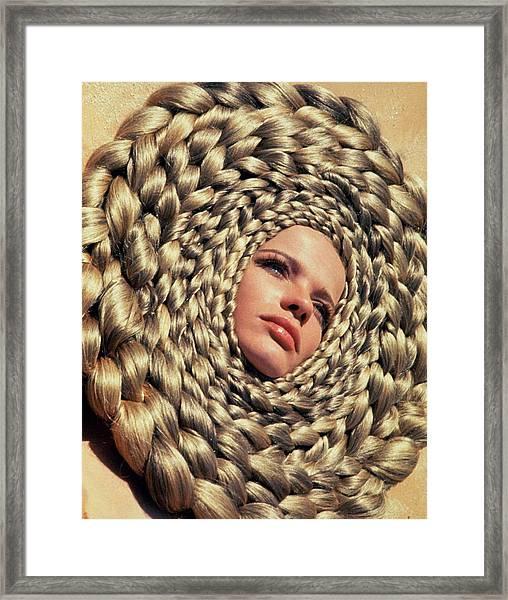 Veruschka Von Lehndorff's Head Surrounded Framed Print by Franco Rubartelli