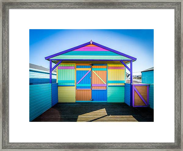 Vibrant Beach Hut Framed Print