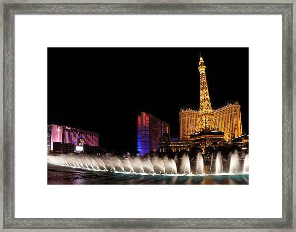 Vibrant Las Vegas - Bellagio's Fountains Paris Bally's And Flamingo Framed Print