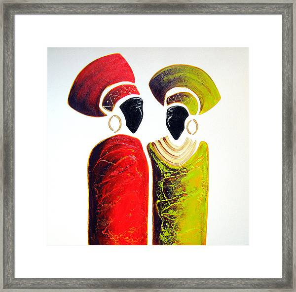 Vibrant Zulu Ladies - Original Artwork Framed Print