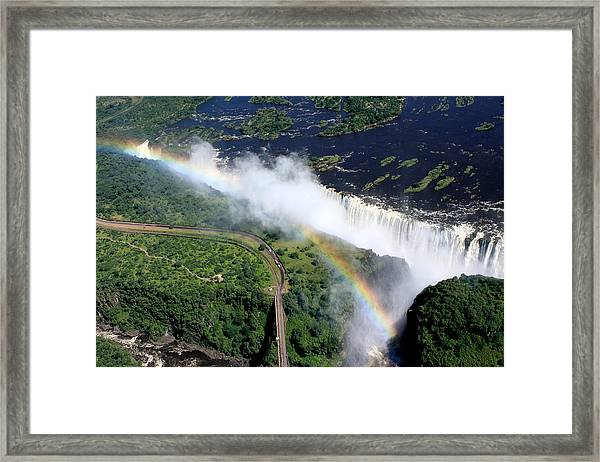 Rainbow Over Victoria Falls  Framed Print
