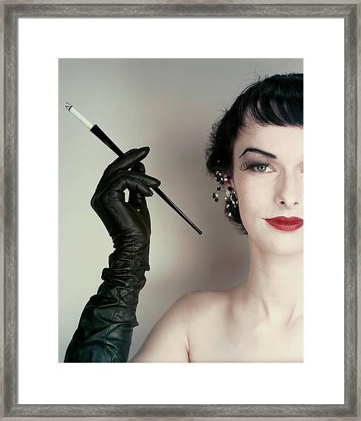Victoria Von Hagen Holding A Cigarette Holder Framed Print