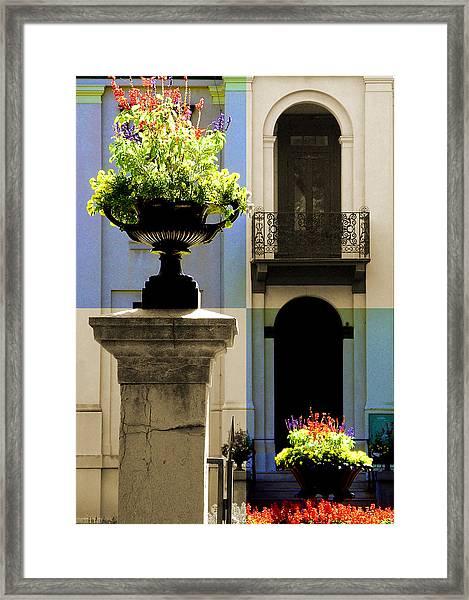 Victorian House Flowers Framed Print