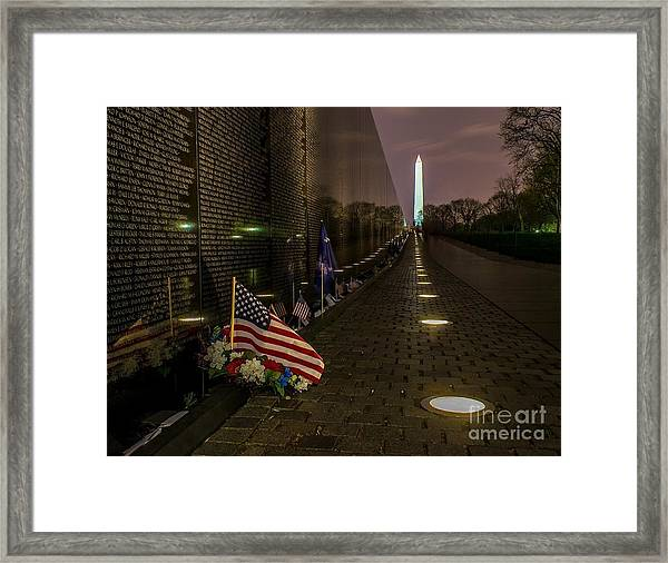 Vietnam Veterans Memorial At Night Framed Print
