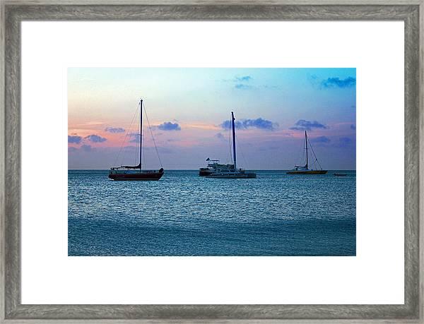 View From A Catamaran3 - Aruba Framed Print