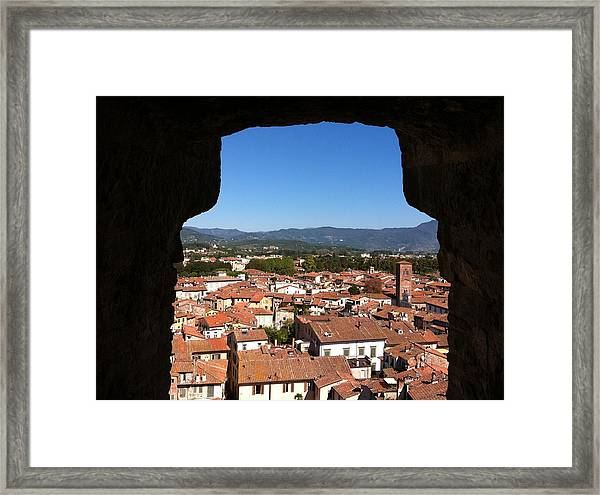 View From A Tower Window In Lucca Framed Print