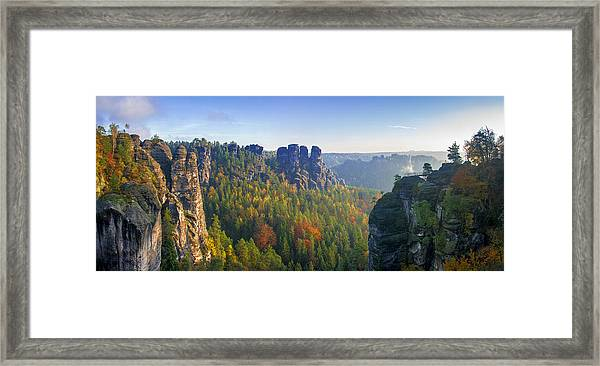 View From The Bastei Bridge In The Saxon Switzerland Framed Print