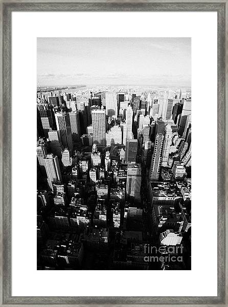 View North And Down Towards Central Park From Empire State Building New York Framed Print