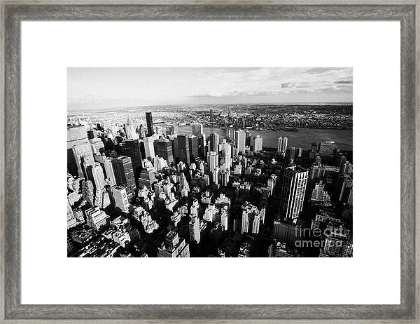 View North East Of Manhattan Queens East River From Empire State Building Framed Print