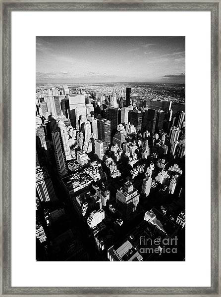 View North East Of Manhattan Queens East River From Observation Deck Empire State Building New York Framed Print