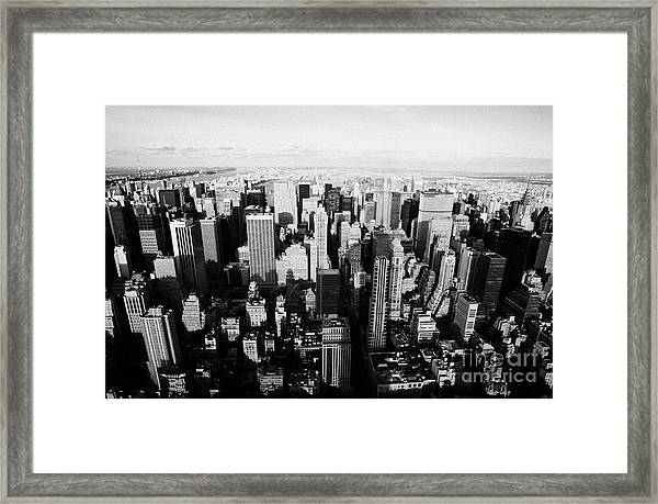 View North Towards Central Park From New York City Usa Framed Print