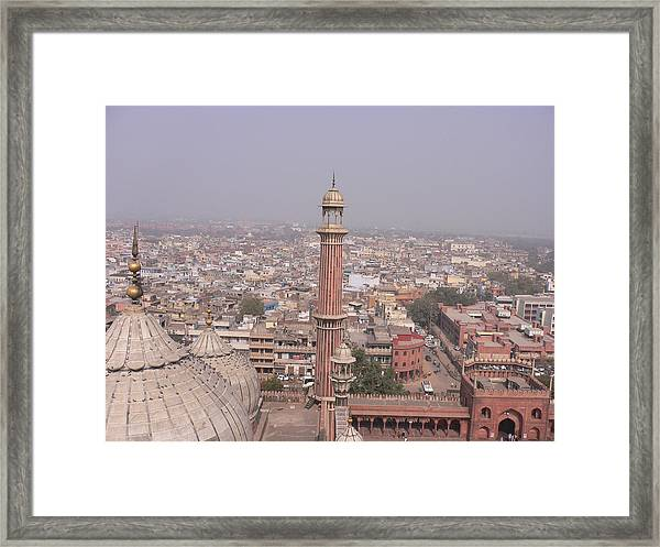 View Of A Mosque (jama Masjid) And Delhi Framed Print by Leontura