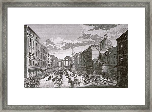 View Of A Procession In The Graben Engraved By Georg-daniel Heumann 1691-1759 Engraving Framed Print