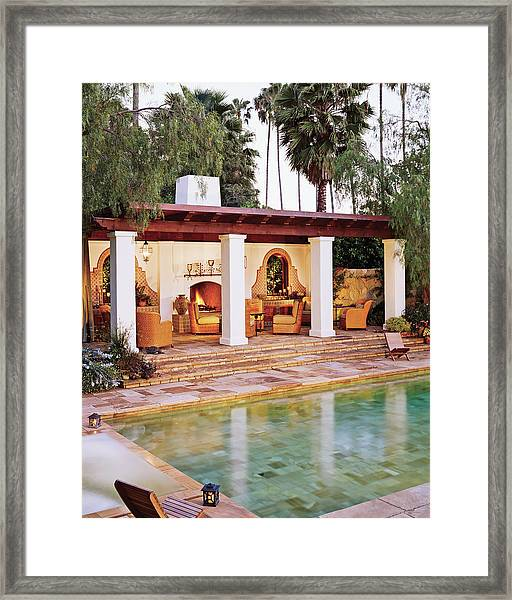 View Of Courtyard With Swimming Pool Framed Print