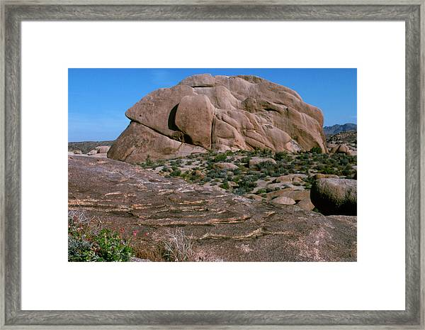 View Of Granite Rock Undergoing Exfoliation Framed Print