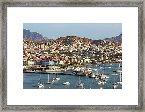 View Of Harbor & Mindelo, Sao Vicente Framed Print
