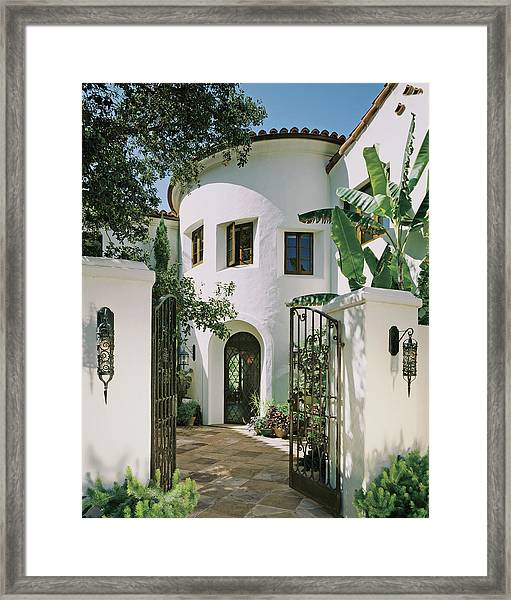 View Of House With Open Gate Framed Print