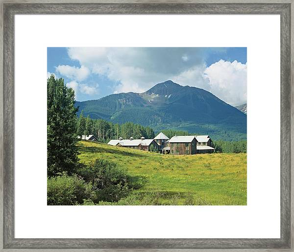View Of Houses And Mountain Framed Print