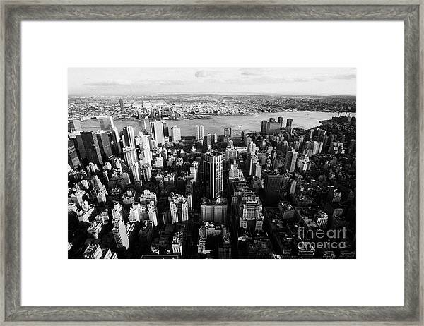 View Of Manhattan East River Looking Towards Queens New York City Usa Framed Print