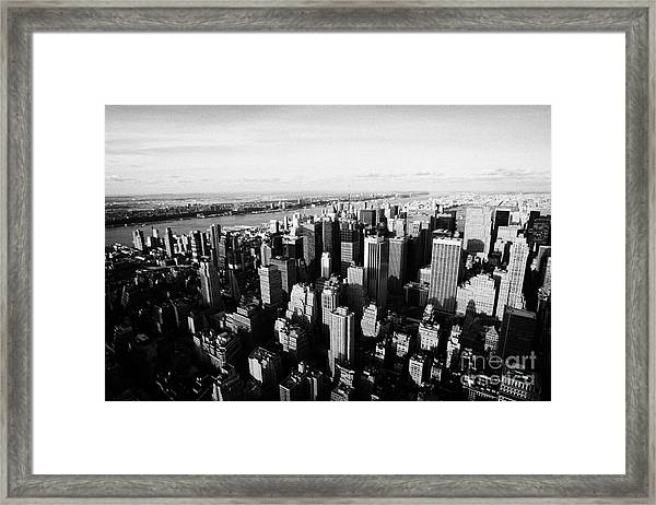 View Of Manhattan North West Towards Hudson River From Empire State Building New York Framed Print