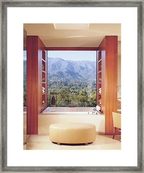 View Of Mountain Through Bathroom Window Framed Print
